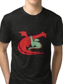 Red and Green Dragon Tri-blend T-Shirt