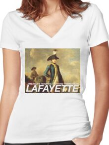 America's favorite fighting Frenchman — Lafayette! Women's Fitted V-Neck T-Shirt