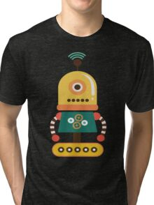 Quirky Retro Wind-up Robot Toy Tri-blend T-Shirt