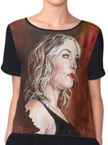Kate Winslet Watercolor portrait Chiffon Top