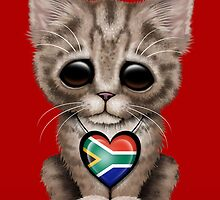 Cute Kitten Cat with South African Flag Heart by Jeff Bartels