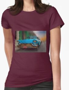 Old Blue Car. Cuba Womens Fitted T-Shirt