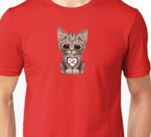 Cute Kitten Cat with South Korean Flag Heart Unisex T-Shirt