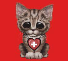 Cute Kitten Cat with Swiss Flag Heart Kids Tee