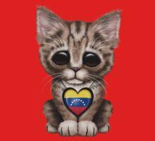 Cute Kitten Cat with Venezuelan Flag Heart Kids Tee