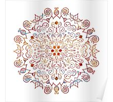 Mandala Multi Color White Background Poster