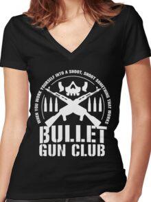 Bullet Gun Club Women's Fitted V-Neck T-Shirt