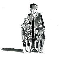 Father and Children in Kazakhstan by Daniel Gallegos