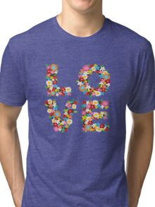 LOVE Spring Flowers Tri-blend T-Shirt