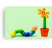 Caterpillar and Flower Canvas Print