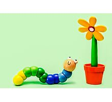 Caterpillar and Flower Photographic Print
