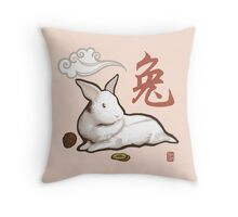 Lionhead Rabbit Sumi-E Throw Pillow