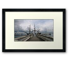 OLD SHIP IN A NEW HARBOUR. Framed Print