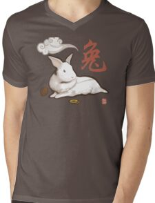 Lionhead Rabbit Sumi-E Mens V-Neck T-Shirt