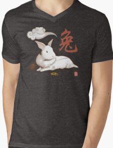 Lionhead Rabbit Sumi-E Mens V-Neck T-Shirt
