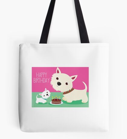 Birthday cake and Westies Tote Bag