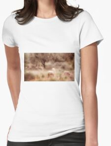 Sheep grazing in the Spanish countryside Womens Fitted T-Shirt