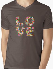 LOVE Spring Flowers Mens V-Neck T-Shirt