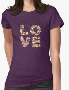 LOVE Spring Flowers Womens Fitted T-Shirt