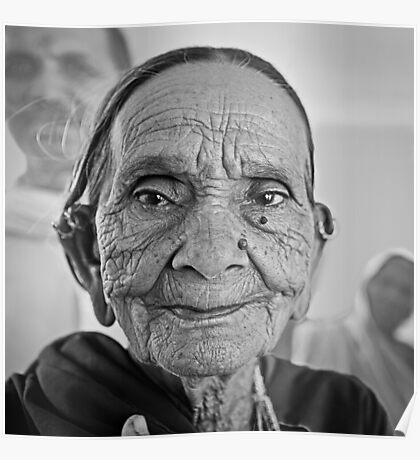 Old woman from Rajasthan India Poster