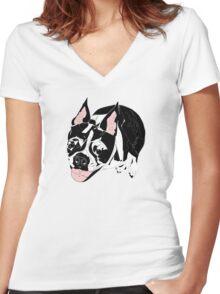 Boston Terrier Women's Fitted V-Neck T-Shirt