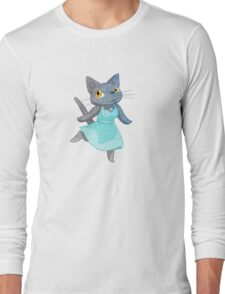 Cute Grey Kitty in Polka Dot Dress Long Sleeve T-Shirt