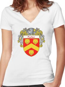 Parker Coat of Arms / Parker Family Crest Women's Fitted V-Neck T-Shirt