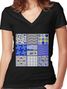 By the Sea - Quasi-Quilt Women's Fitted V-Neck T-Shirt