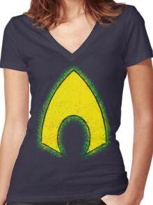 Superhero Spray Paint - Aquaman Women's Fitted V-Neck T-Shirt