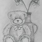 Teddy with Daffodils by Geraldine M Leahy