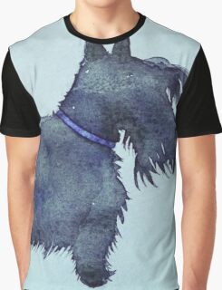 Scottie watercolour (blue) Graphic T-Shirt