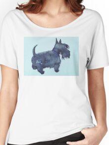 Scottie watercolour (blue) Women's Relaxed Fit T-Shirt