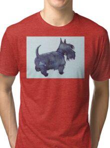 Scottie watercolour (blue) Tri-blend T-Shirt
