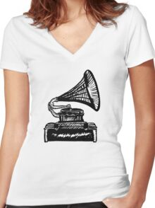 Snazzy Gramophone  Women's Fitted V-Neck T-Shirt