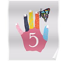 12345 Fingers Butterfly Hand Poster