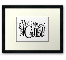 Sans Font Alphabet Soup Framed Print