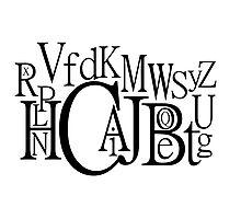 Sans Font Alphabet Soup Photographic Print