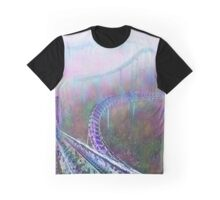 Watercolor Abandoned Thrill Ride Photo Print Graphic T-Shirt