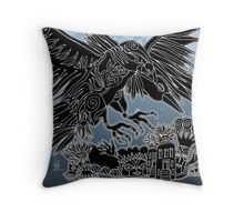 ladyhawk and crow Throw Pillow