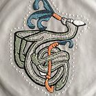 Celtic Rabbit Embroidery Letter T by Donna Huntriss