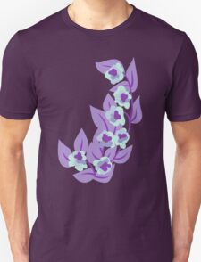 Purple Floral and Leaves Print Unisex T-Shirt
