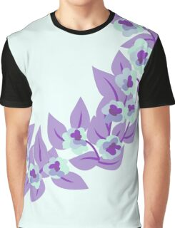 Purple Floral and Leaves Print Graphic T-Shirt
