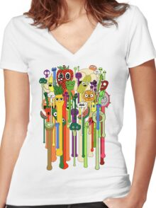 melting faces fruits and veggies Women's Fitted V-Neck T-Shirt