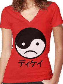 Yin Yang Face I Women's Fitted V-Neck T-Shirt
