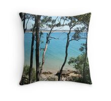 Litte cove through the trees, Noosa NP Throw Pillow