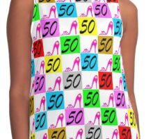 50 AND FABULOUS PINK SHOE QUEEN Contrast Tank