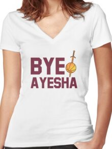 BYE AYESHA CLEVELAND CAVALIERS KING JAMES LEBORN Women's Fitted V-Neck T-Shirt