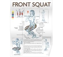 Front Squat Exercise Anatomy Poster