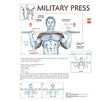 Barbell Military Press Diagram Photographic Print