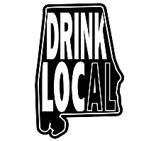 Drink Local Black Photographic Print